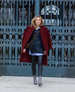layers coat leather pants