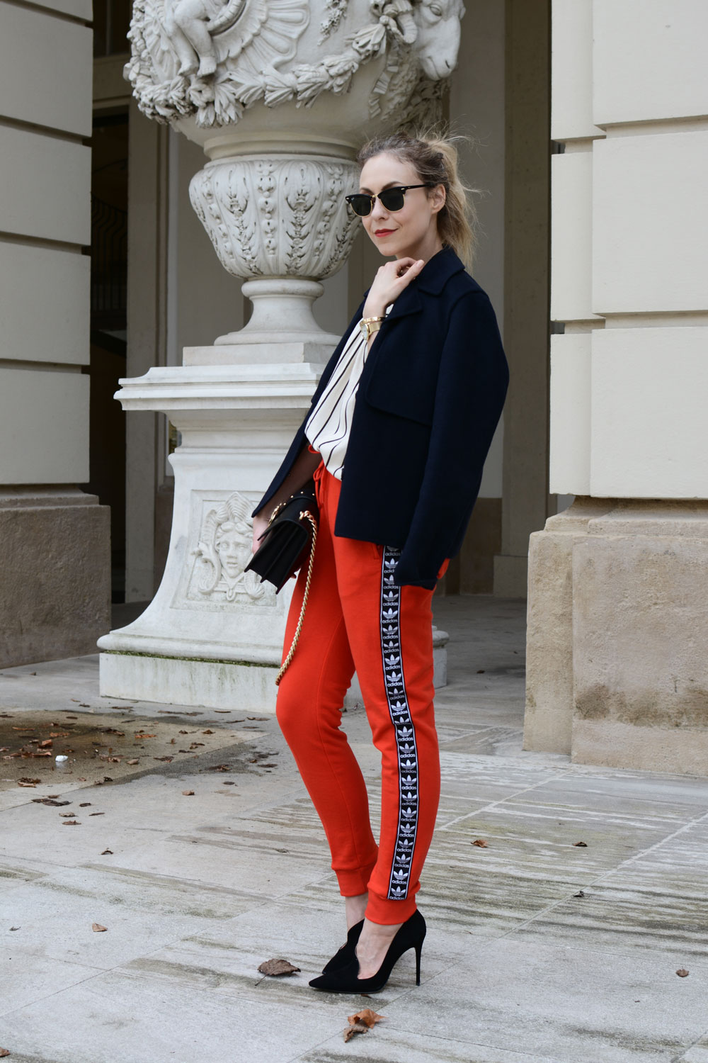 Athleisure wear, Adidas, jogging pants, track pants, pinko bag, vienna street style,