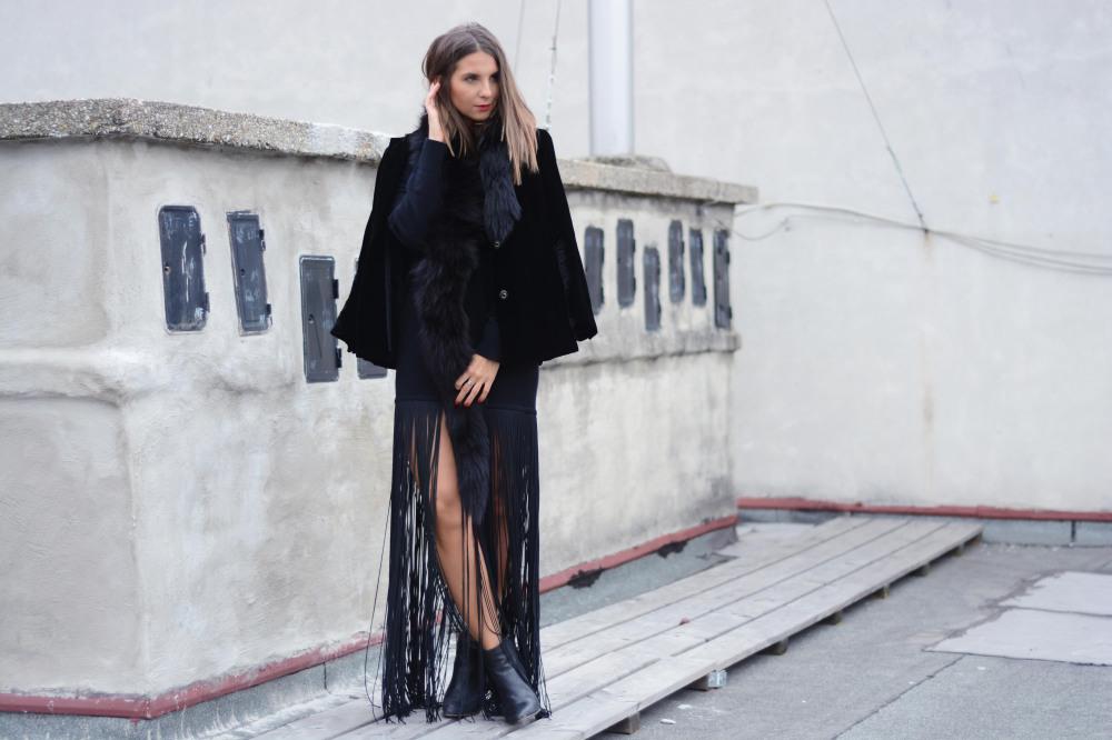 schwarzes fransen kleid