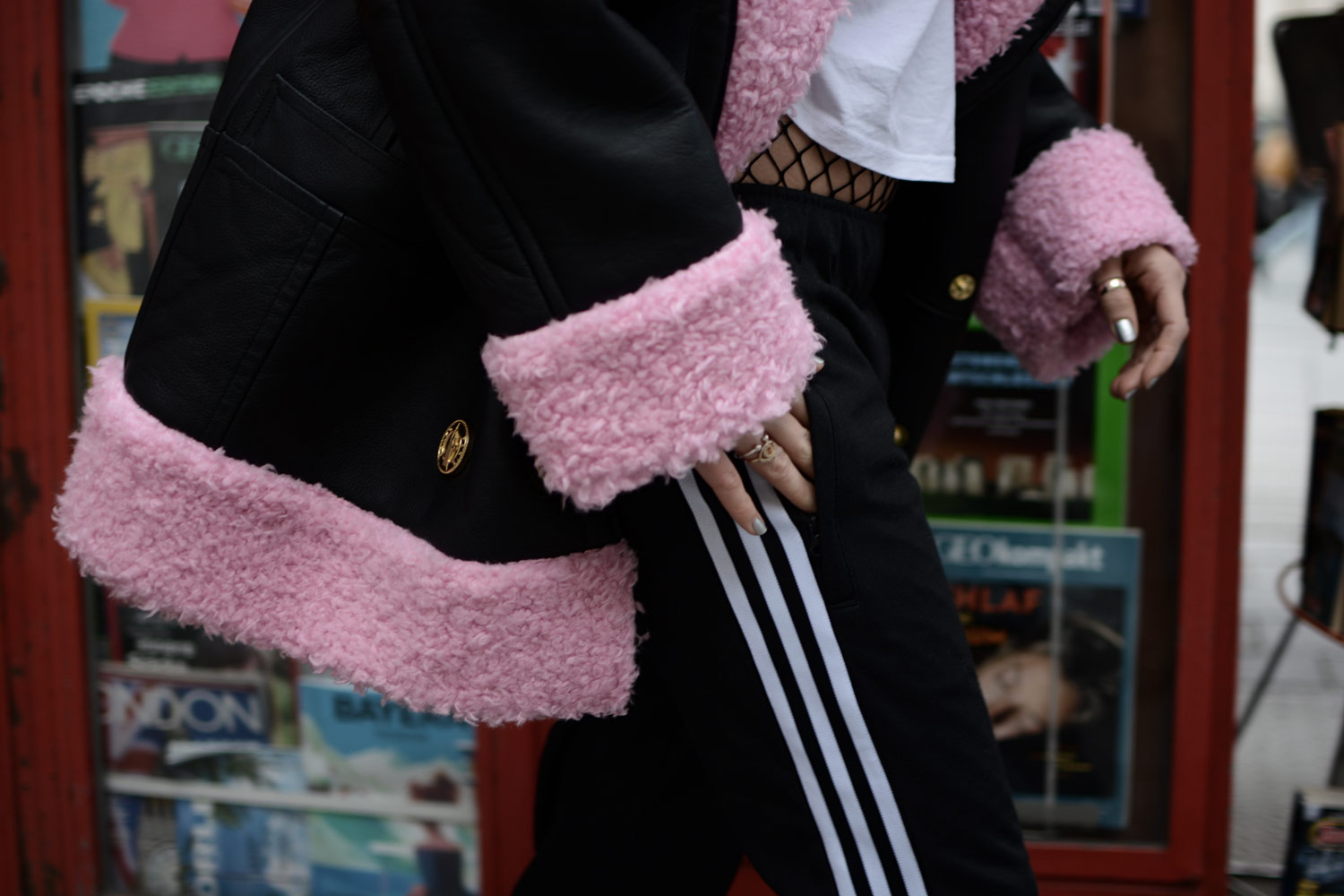 kenzo x h&m release, pink fur leather jacket, adidas track pants, cadenzza jewelry