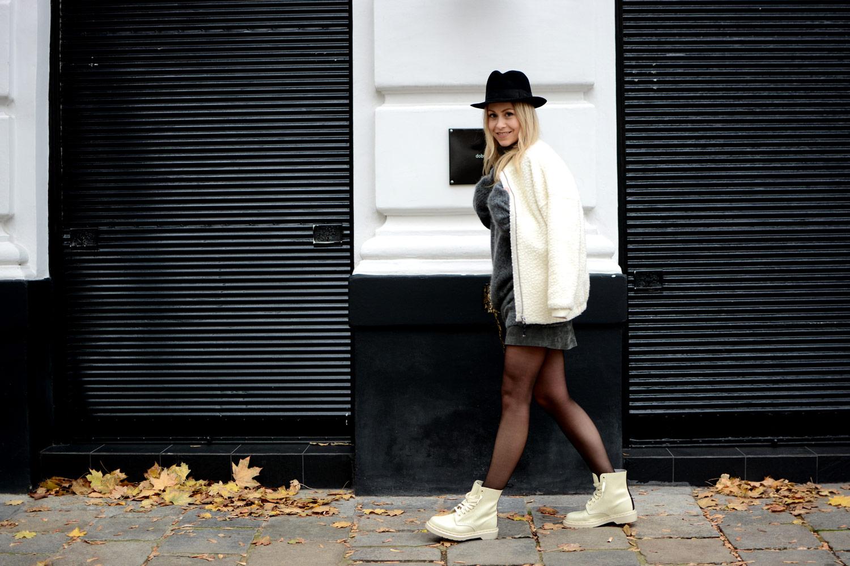 Doc Martens, MARNI x Zalando, grey sweater, grey leather skirt